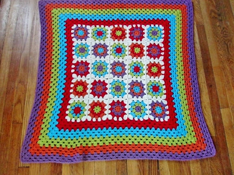 "Handmade Crochet GRANNY SQUARE Blanket Throw Bedspread Cover Knit 49"" MULTI"