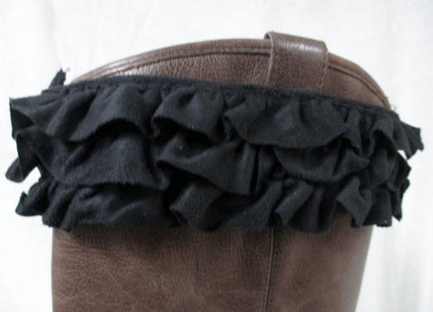 NEW SHIMEEZ Boot Cuffs Topper Fashion Womens BLACK RUFFLE Diva Cute Girly