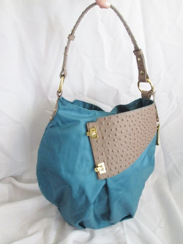 IEOLUS USA OSTRICH Faux Leather Hobo Satchel Shoulder Bag TEAL BLUE SEAFOAM XL