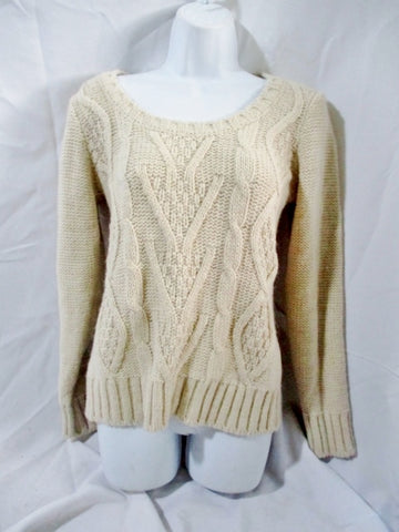 Womens ELSAMANDA ITALY Fisherman Cable Knit Sweater ANTHROPOLOGIE M Creme
