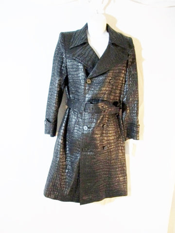 NEW DRIES VAN NOTEN ROANNE TRENCH jacket coat 38 S BLACK NWT Belt Vegan Croc
