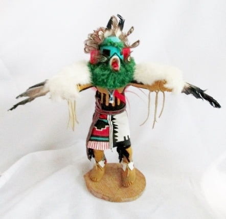 "Handmade 14"" KACHINA DOLL NATIVE AMERICAN Indian EAGLE DANCER Feather Shell"