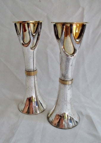 "Set INDIA 8"" SILVER GOLD TREE BRANCH Candlestick Candle Holder Candelabra Arts Crafts"