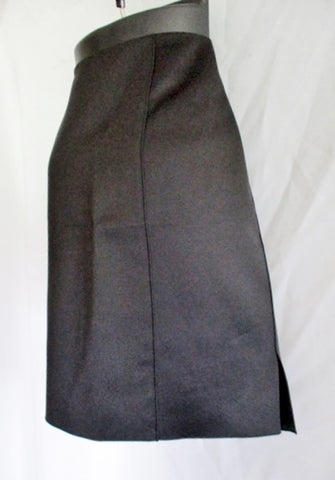 NWT New CELINE FRANCE SILK WOOL Slit SKIRT 36 4 BLACK Formal Womens
