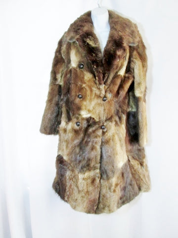 Vintage Womens Luxury Genuine MUSKRAT Fur Long Coat Jacket S BROWN SOFT