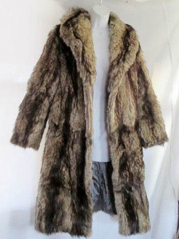 Vintage Womens Handmade Genuine COYOTE Fur Coat Jacket Parka TAN BEIGE BLACK
