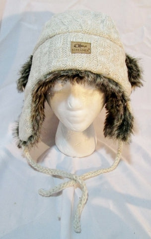 SCREAMER Knit Faux Fur Bomber Cap Trooper Flap Cossack Trapper Aviator KNIT BEIGE