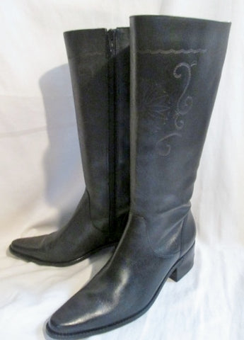 Womens MATISSE Western Cowboy Buckaroo Leather Floral BOOTS 5.5 BLACK
