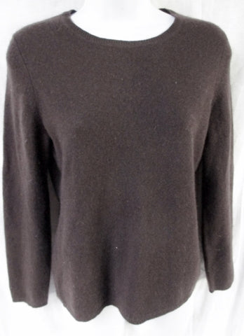 Womens Ladies Lord & Taylor CASHMERE Pullover Sweater ESPRESSO BROWN S