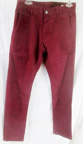 NEW MENS GROWN & SEWN USA Pants Jeans BURGUNDY RED 32 X 34 INDEPENDENT SLIM FIT
