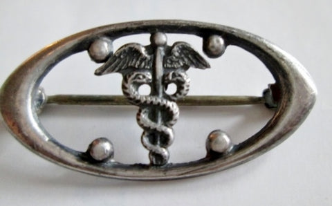 Vintage Caduceus STERLING SILVER Healing Medicine Doctor BROOCH PIN 2g