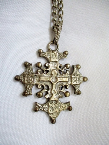 MEDIEVAL SILVER CROSS CHRISTIAN Crucifix Necklace King Pendant Mens Womens