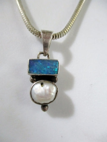 "21"" STERLING SILVER PEARL OPAL Pendant NECKLACE HONOR Wedding Charm"