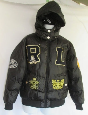 Mens  RALPH LAUREN RUGBY 41381 JACKET Coat Puffer BLACK L SKULL PATCH FOOTBALL