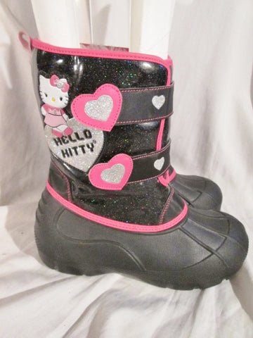 Youth Girls Kids HELLO KITTY Winter Rain Snow Boots BLACK 4 PINK GLITTER Childrens