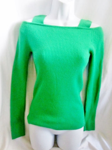 Womens JILL STUART lambswool Sexy Clingy Strap Sweater Top KELLY GREEN S M
