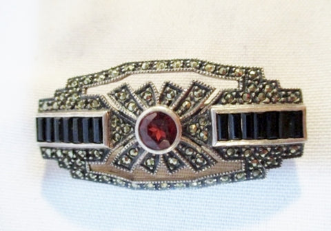 STERLING SILVER BROOCH PIN MARCASITE Glass RED BLACK 14g Noveau Deco Jewelry