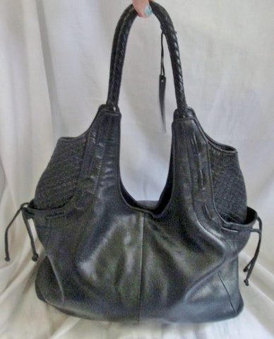 ALDO Genuine Leather Hobo Satchel TOTE Bag Shoulder Bag Carryall BLACK Quilted