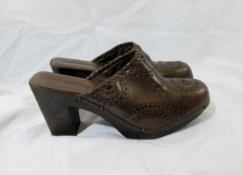 Womens JACK ROGERS ALI Whipstitch CLOG Leather Slide 11 BROWN