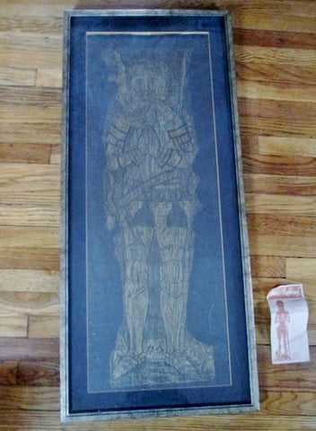 SIR ROGER BELLINGHAM MEDIEVAL KNIGHT BRASS RUBBING ART Westminster Abbey