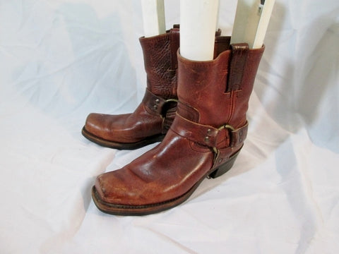 Womens Frye Belted Harness 720327 Leather Moto Bootie Boot 9 BROWN Rider