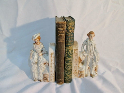 Set Vintage JAPAN Porcelain Ceramic COUPLE MAN LADY BOOK END BOOKEND WHITE