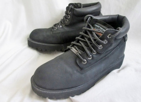 Mens SKECHERS Waterproof Leather Boot Shoe Trail Hiking 11 BLACK Trek Work