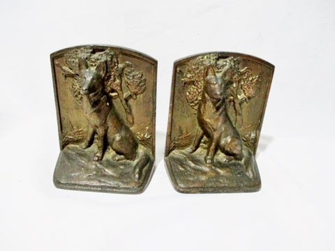 Set CAST BRONZE IRON WOLF DOG GERMAN SHEPARD BOOK END BOOKEND Vintage