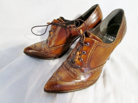 Womens STUART WEITZMAN LEATHER GRANNY Victorian Steampunk Shoe BROWN 5.5