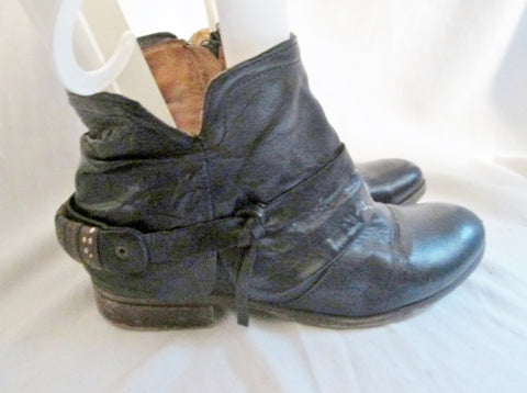 Womens JOE'S Leather Sheath Ankle BOOTS Booties Shoe BLACK 8.5 39 Boho Hipster