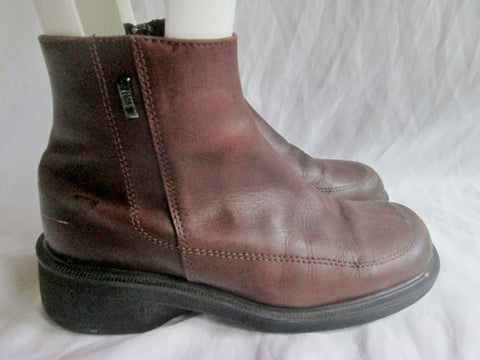Mens Dr. DOC MARTENS 9278 LEATHER ZIP BOOTS Ankle Boot Booties BROWN 7 Shoe