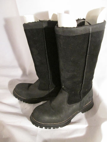 Womens 9 DEGREES NINE WEST MAYO Suede Leather Lined Boots BLACK 6 Stitch
