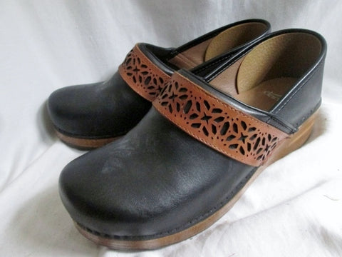 EUC Womens DANSKO Suede Leather Clogs Shoes Slip-On Mules BLACK 41 10.5 BROWN Cutout