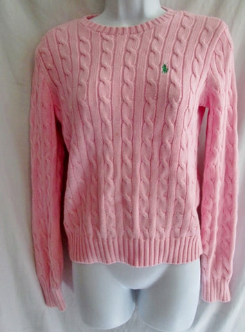 Womens RALPH LAUREN SPORT Crewneck Cable Knit Top Sweater S PINK BLUSH LIPSTICK