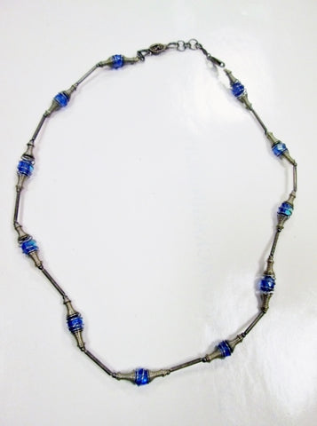 "16"" Handmade Sterling Silver GLASS Bead Necklace Choker Collar Delicate Statement BLUE"