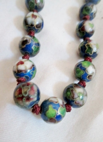 "23"" Handmade Knot CLOISSONNE Enamel Glass Bead Necklace BLUE FLORAL Statement China"