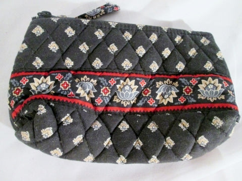 VERA BRADLEY wristlet change purse organizer JILLY Zip BLACK Floral Retired