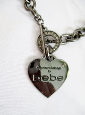 MY HEART BELONGS TO BEBE Necklace PENDANT Choker Rhinestone Brasstone LOVE Soulmate Bestie Rope Jewelry