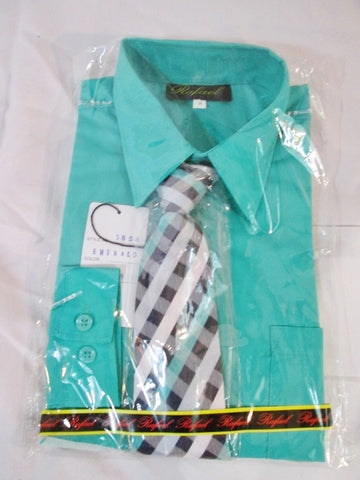NEW BOYS RAFAEL Dress Shirt Tie Set 8 EMERALD GREEN Recital Party Wedding