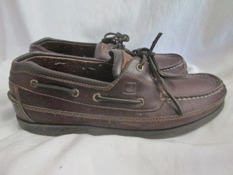 Womens SPERRY TOP-SIDER 2 eye Canoe Moc Leather Walking Shoes Boat Brown 11