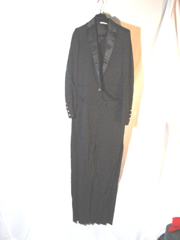 NEW NWT CELINE FRANCE One Piece TUXEDO Pant Suit 36 BLACK FORMAL