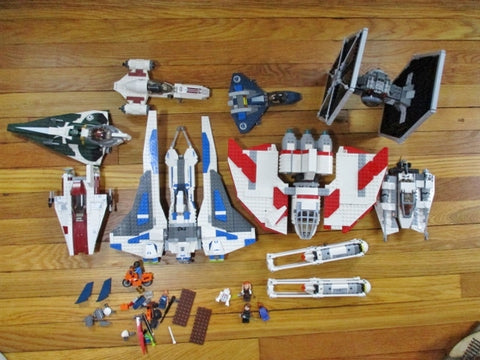 Set LOT LEGO STAR WARS KIT Spaceships FINISHED COMPLETED Minifig Building Toy