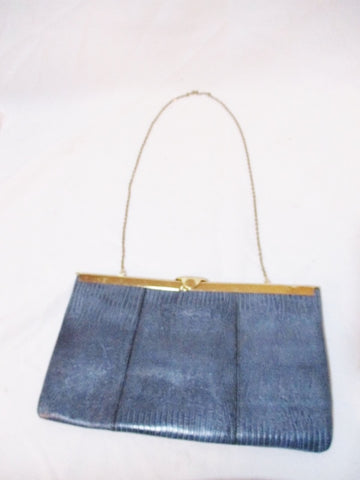 ETRA REPTILE LEATHER Lizard SKIN Collapsible Hinge Evening Bag BLUE Purse Clutch Vintage