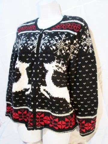 Womens J. Jill Knit REINDEER Ski Sweater Cardigan S SNOWFLAKE Jacket BLACK WHITE RED