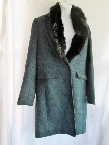 Womens BANANA REPUBLIC NOVA FIDES ITALY jacket coat M GREEN BLACK Faux Fur