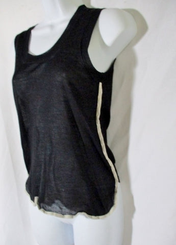CELINE ITALY Cashmere Silk Blouse Tank Top Shirt XS BLACK BEIGE Stripe Sleeveless