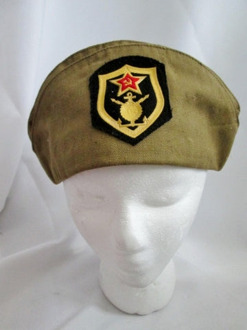 Vintage 58 Soviet Russian Army Pilotka Military Cap Beanie w Patches Communist BROWN