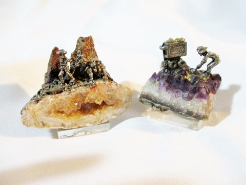 Vintage Set GEM PEWTER Metal Cast Sculpture Mini Figurine Amethyst GEODE