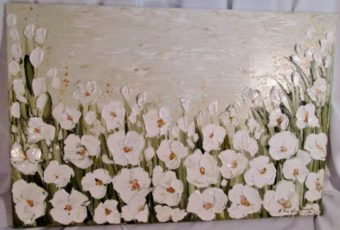 SIGNED Original HORNER PAINTING FLORAL ANEMONE FLOWER Contemporary WHITE GREEN