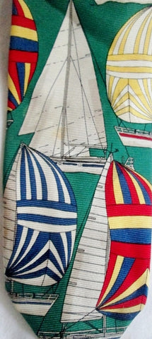 Vintage CHAPS RALPH LAUREN USA 100% Silk NECK TIE Necktie Sailboat GREEN Nautical Tall Ships